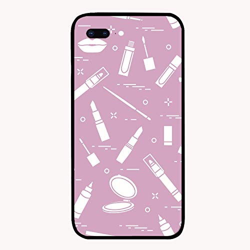 iPhone 7/8Plus Case,Fashion Glamour Lip Make-up Seamless Pattern Slim Fit Clear Unique Case Soft TPU Bumper Shock Absorption Phone Cover Case Compatible for iPhone 7/8Plus -