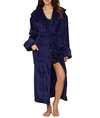 - Monarch/Cypress Cotton Terry-Lined Hooded Robe, One Size, Navy