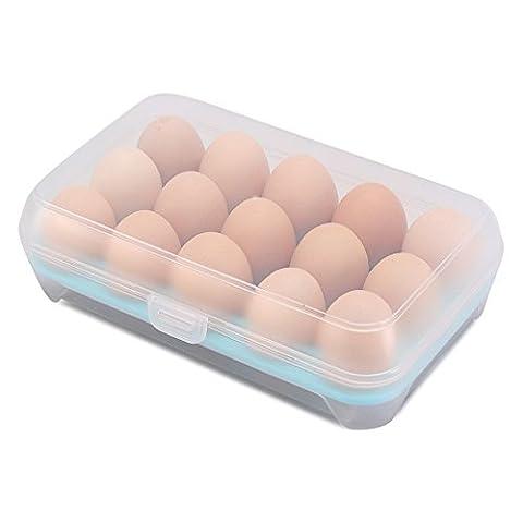 Refrigerator Storage Organizer for Kitchen, Covered Egg Holder - 15 Eggs, Pack of 1, Blue