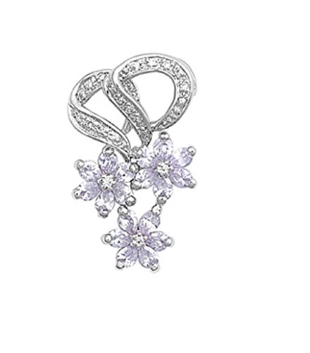 Star Lavender Zirconia Cubic (CloseoutWarehouse Lavender Cubic Zirconia Tripe Star Flower Pendant Sterling Silver)