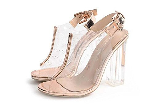 Fashion Open Lady Heels Transparent Strap Eu Transparent Hole 35 Sandals Gold Breathable Toe Ankel Shos Slingbacks Hollow Size Buckle Crystal 40 Belt Chunkly Dress XxwqpYAA0