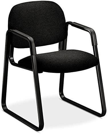 HON 4008AB10T Solutions Seating Sled Base Guest Chair, Olefin, Black