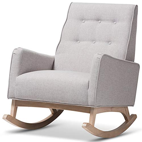 Baxton Studio Marlena Tufted Rocker in Grayish Beige