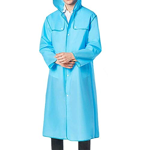 Imperméable Unisexe Raincoat Couleurs Style Femmes Hommes À Blau Capuchon Transparent Unies Spécial Bobolily Étanche qRpxfTwgg5