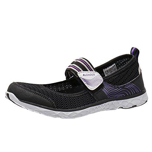 ALEADER Womens Mary Jane Water Shoes Black/Purple