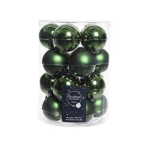 20 palline di Natale in vetro da 6 cm (verde / verde pino) // palline di Natale decorative per albero di Natale 2 spesavip