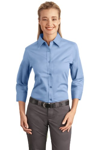 Autoridad Portuaria de las mujeres 3/4Manga Camisa De fácil cuidado Azul claro