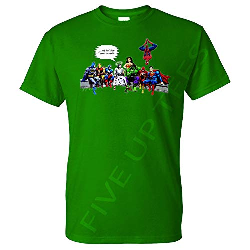 (Five Up Tees and That's How I Saved The World Jesus Superheroes with W Woman - Mens T-Shirt - Professional DTG Print(XL, Light)