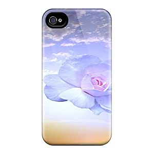 Fashion Tpu Case For Iphone 4/4s- Blue Roses Blossom On Sunset Defender Case Cover