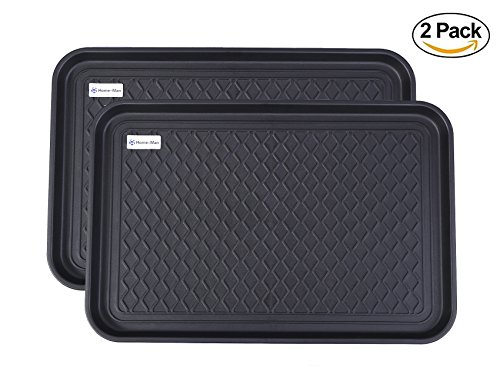 """Home-Man Multi-Purpose Boot Tray Mat,Shoe Tray Mat,Dog feeding Tray,Waterproof Trays for Indoor and Outdoor Floor Protection ,24"""" x 15""""/2 Pack"""
