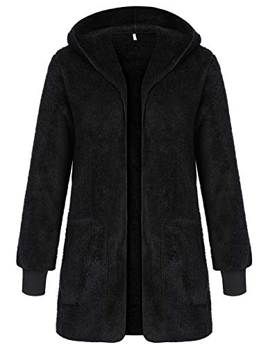 (Winter Casual Fashion Fuzzy Sherpa Cardigan Hooded Fur Jackets for Women Black L)