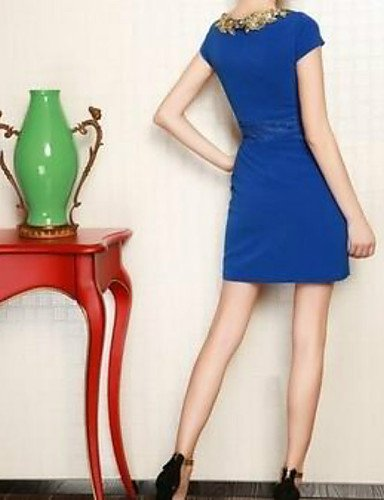 PU&PU Robe Aux femmes Trapèze Street Chic,Couleur Pleine Col Arrondi Au dessus du genou Polyester , blue-l , blue-l
