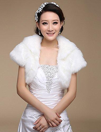 Wedding Faux Fur Shrug Wrap Cape Bolero Stole Scalf Shawl Coat Jacket Cloak (No. 2  Fluffy Short Sleeves Jacket)