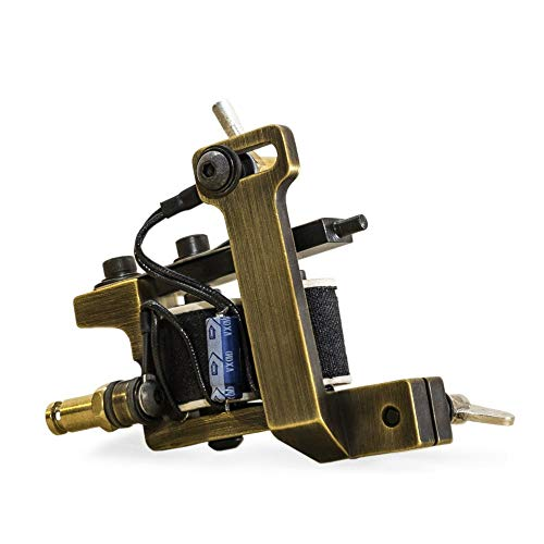 Mini Dietzel Power Liner Tattoo Machine by HM Tools & Dye — Coil Tattoo Machine with Clip Cord Connection - Brass Finish