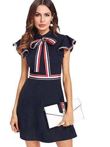 Verdusa Women's Tie Neck Striped Trim Flutter Short Sleeve Dress Navy M