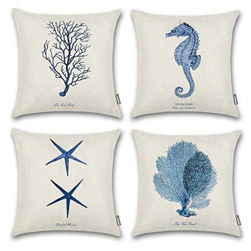 (ONWAY Ocean Park Cotton Linen Theme Decorative Pillow Cover Case D 18