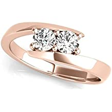 JewelMore Two-Stone Forever Us Ring 1/2 ct tw Diamonds 14K White, Yellow or Rose Gold (H-I/I1-I2)