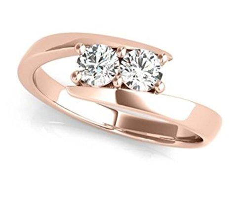 Two Stone Ring Forever Us 1/4 ct tw Diamonds 14K White Gold IGI USA Certified (Size 4.5 11)