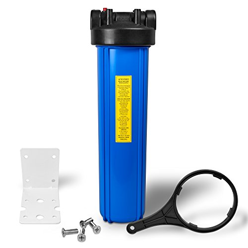 """20'' Big Blue Housing for Whole House Water Filtration System, 1"""" Brass Port, Mounting Hardware Included! (1 Set, Blue) by Ronaqua"""