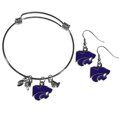 - Siskiyou NCAA Kansas State Wildcats Dangle Earrings & Charm Bangle Bracelet Set