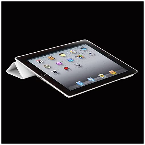 ebestStar – compatible with iPad 4 Smart Cover Retina, iPad 3, iPad 2 Ultra Slim Case [Front face only] Stand Protective Shell Auto Wake/Sleep +Mini Stylus, White [iPad: 241.2×185.7×9.4mm 9.7″]