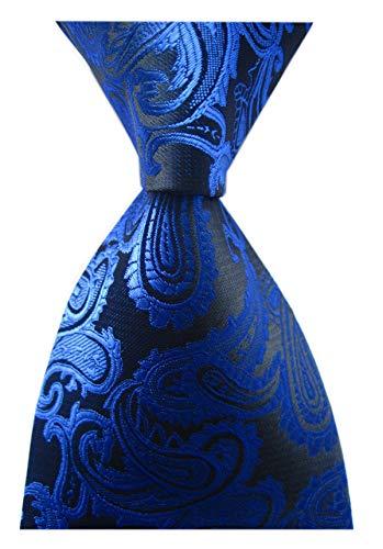 Dress Tie Modern (Mens Narrow Royal Blue Black Tie Adult Formal Sunny Self Modern Necktie Dad Gift)