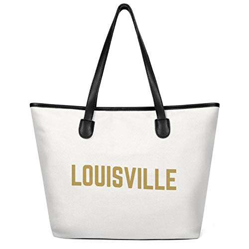 12.5X14 Inches Cute Zip Spacious And Roomy Canvas Large Tote Bag For Women Louisville City Typography Durable Handles Beach Work Gym Book Lunch School Shopping Shoulder -