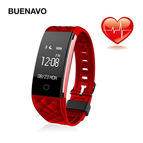BUENAVO Fitness Tracker S2 Smart Wristband Bracelet, IP67 Waterproof Wireless Bluetooth Call Remind Auto Sleep Monitor Sport Pedometer Activity Tracker for Android IOS Phones (Red)