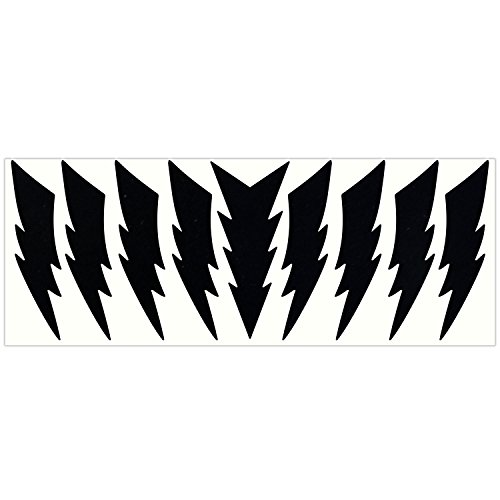 LiteMark Reflective Black 4 Inch Lightning Sticker Decals for Helmets, Bicycles, Strollers, Wheelchairs and More - Pack of 9