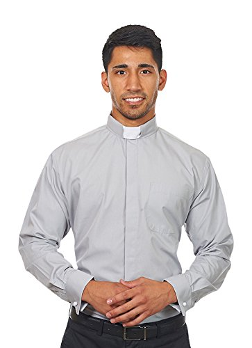 Men's Long Sleeves Tab Collar Clergy Shirt Grey (18 - 18 1/2 (36-37)) (Clerical Clothing)