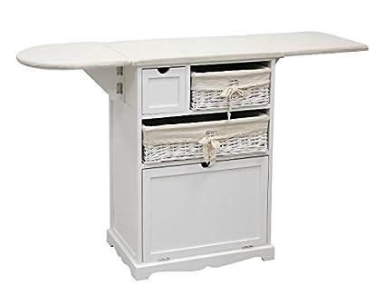 Mueble para planchar mimbre y madera blanco: Amazon.es: Hogar