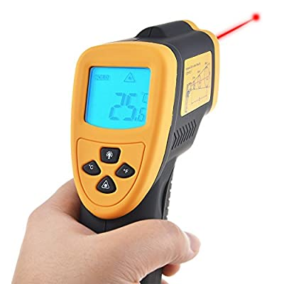Flashmen® Non-contact Digital Laser Ir Infrared Thermometer Temperature Gun, Yellow/black