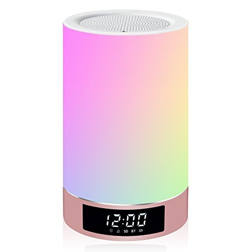Airecho All in 1 Romantic Lighting Bluetooth Speaker with Bedroom Table Lamp Touch-Sensitive Control Panel Support TF Card Speakerphone Hand-free Calls Alarm Clock by Airecho
