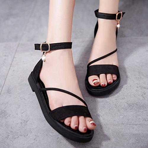 Femmes Chaussures À Tongs Noir Casual D'été Sandales Bas Toe Zhrui Chaussures De Talons Pantoufles Peep Plage Femmes Plat Dames Sandales FfxwppUdq