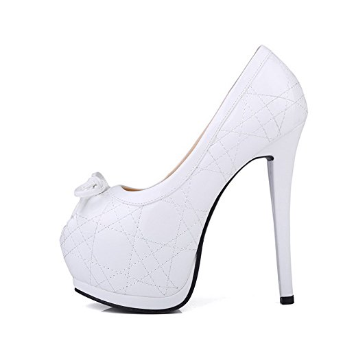 VogueZone009 Womens Open Peep Toe High Heel Platform Stiletto Micro Fiber Soft Material Solid Sandals with Bowknot White LXuZDw