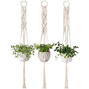 Mkono Macrame Plant Hanger Set of 3 Indoor Wall Hanging Planter Basket Flower Pot Holder Boho Home Decor, 39 Inch
