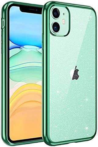 BENTOBEN iPhone 11 Hülle Handyhülle Glitzer, iPhone 11 Case Slim Glitzer Anti Gelb Silikon Bumper Cover Ultra dünn Hülle für iPhone 11 6.1 Zoll Bling Transparent Grün