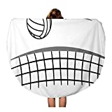 Pinbeam Beach Towel Action Sport Ball Volleyball Net Games Black Bump Travel 60 inches Round Tapestry Beach Blanket