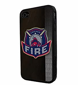 Soccer MLS CHICAGO FIRE FC LOGO SOCCER FOOTBALL, Cool iPhone 4/4s / 4s Smartphone iphone Case Cover Collector iphone TPU Rubber Case Black