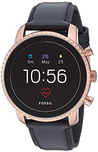 Fossil Men's Gen 4 Explorist HR Heart Rate Stainless Steel and Leather Touchscreen Smartwatch, Color: Rose Gold, Black (Model: FTW4017) (Fossil Watch Women Heart)