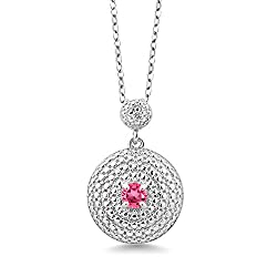 Rhodium Plated White Diamond Pendant with Pink Topaz