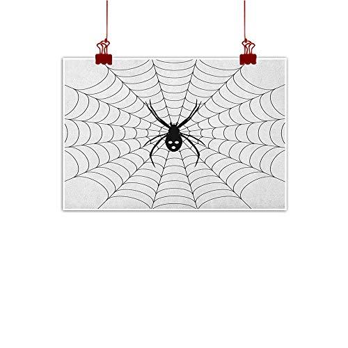 Sunset glow Art Poster Print Spider Web,Poisonous Bug Venom Thread Circular Cobweb Arachnid Cartoon Halloween Icon, Black White 32