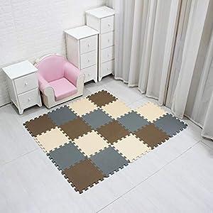 MQIAOHAM tapis de sol puzzle tapis mousse bebe jeu enfant aire de jeux pour puzzle multicolores enfants baby mat à ramper activite épais puzzle mat baby à ramper Café Beige Gris 106110112 4