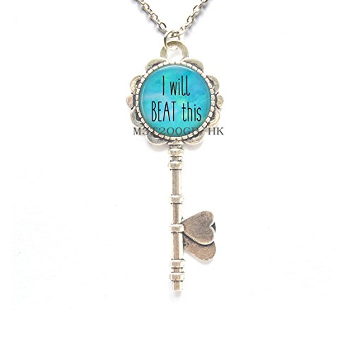 I Will Beat This- Cancer Survivor Jewelry - Breast Cancer Key Necklace - Cancer Encouragement - Beating Cancer-MT067 -