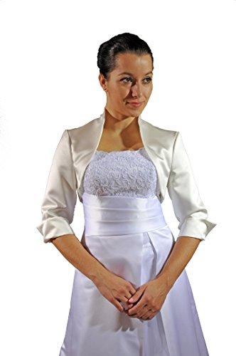 Bolero, chaqueta para novia, satén, manga 3/4 Creme/Ivory