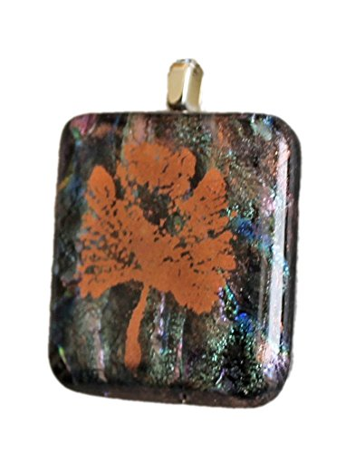 Dichroic Glass Pendant - Jewels of Fire Handmade Dichroic Glass Pendant with Copper Leaf in Green, Blue and Copper