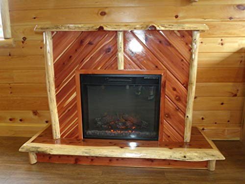 Cheap Furniture Barn USA Red Cedar Log Electric Fireplace on Casters Black Friday & Cyber Monday 2019