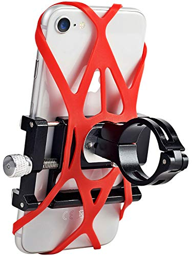- Aluminum Bike Phone Mount and Motorcycle Phone Mount with 2 Adjustable Anti Shake Silicone Strap, Bicycle Handlebars & Stem, ATV, Compatible for All Smartphones iPhone X/XR/6/7/8 Plus Galaxy S9/S8/S7