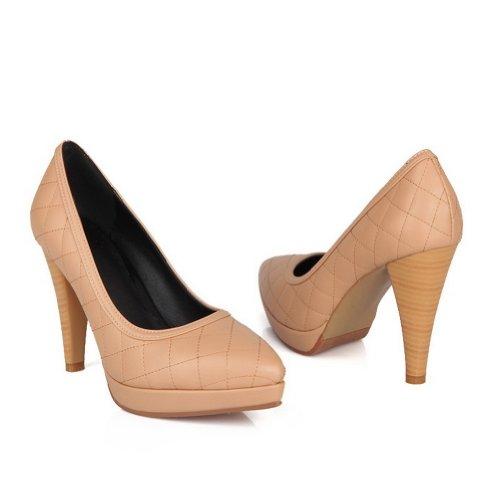 Amoonyfashion Womens Pekte Tå Lukket-toe Pigger-stiletter Pumper-sko Med Plattformen Og Stilett Aprikos