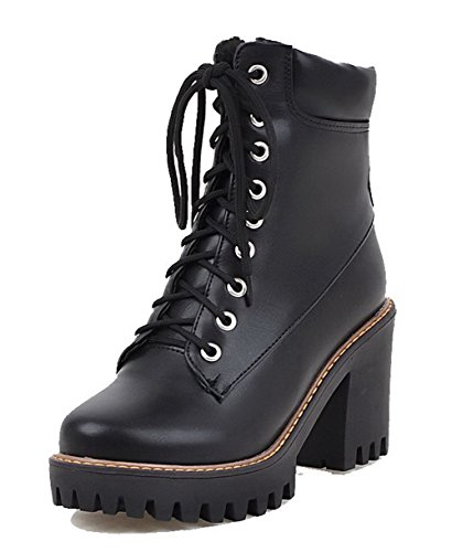 AgooLar Women's PU High-Heels Round-Toe Solid Lace-up Boots Black tCd5zWkBqj